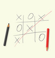 hand drawing playing tic tac toe pencils vector image vector image