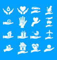 hand protect icon blue set vector image