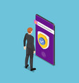 isometric businessman standing with shield vector image vector image