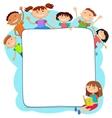 kids peeping behind placard vector image vector image