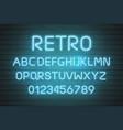 light neon font letter set bar sign type vector image vector image