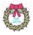 merry christmas celebration floral wreath bow snow vector image