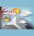paper art of beautiful landscape with sakura vector image