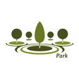 park icon with trimmed decorative trees vector image