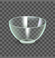 realistic detailed 3d glass bowl on a transparent vector image vector image