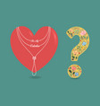 red heart with collar and floral question mark vector image