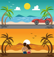 romantic lover watching sunset and sport car vector image