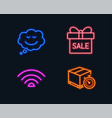 sale offer speech bubble and wifi icons delivery vector image