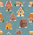 seamless pattern with cartoon house gingerbread vector image vector image