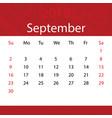 september 2018 calendar popular red premium for vector image vector image
