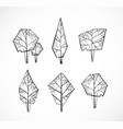 set doodle sketch trees on white background vector image vector image
