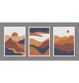 set minimalist mountain landscapes vector image