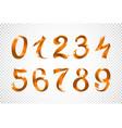 set of festive orange ribbon digits iridescent vector image vector image
