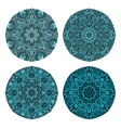set of four turquoise circular ornaments vector image vector image