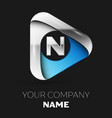 silver letter n logo in silver-blue triangle shape vector image vector image