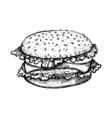 Sketch hamburger or burger logo design template