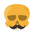 skull with mustache cinco de mayo mexican vector image