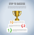 Step to success with winner trophy infographic vector image vector image