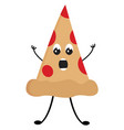 surprised pizza slice on white background vector image vector image