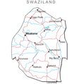 Swaziland Black White Map vector image