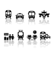 transport icons with reflection vector image vector image
