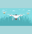 unmanned delivery packages around city vector image vector image