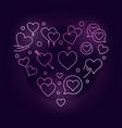 valentines heart pink creative line vector image vector image