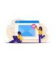 web email service people near open browser vector image vector image