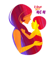 Acrylic beautiful mother silhouette with baby vector image