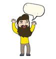 cartoon happy bearded man waving arms with speech
