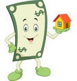 cartoon money holding a house vector image vector image