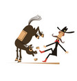 cartoon rider and a balky horse isolated vector image vector image