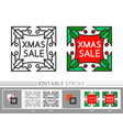 christmas holly banner xmas sale linear icon vector image vector image