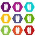 coat icon set color hexahedron vector image vector image