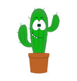 cute cartoon cactus isolated vector image vector image