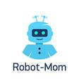cute cartoon robots sign robot head avatar vector image vector image