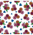 decorative diamond and flowers background vector image vector image