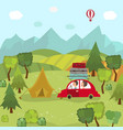 family car trip and camping in countryside fields vector image