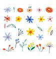 floral bouquet design set flat spring vector image