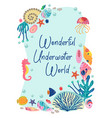 frame with beautiful underwater sea life vector image vector image