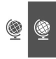 globe icon on black and white background vector image vector image
