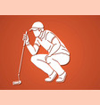 golf players action cartoon graphic vector image