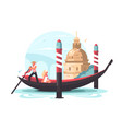 gondolier transports woman in gondola vector image