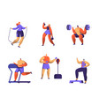 gym fitness character set sport cardio workout vector image