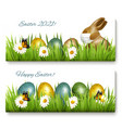 happy easter banners coronavirus protection vector image vector image