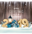 holiday christmas background with 2019 and gift vector image vector image