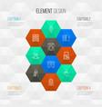 interior icons line style set with wall clock vector image