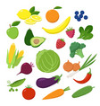 large set of fruits vegetables and berries in vector image vector image