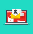 letter on laptop with malware vector image vector image