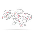 linear ukraine map pin with regional centers vector image vector image